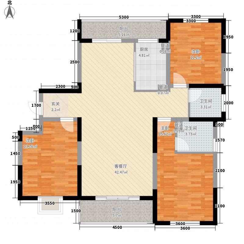 金地国际商住楼14.56㎡一期D户型3室2厅2卫1厨