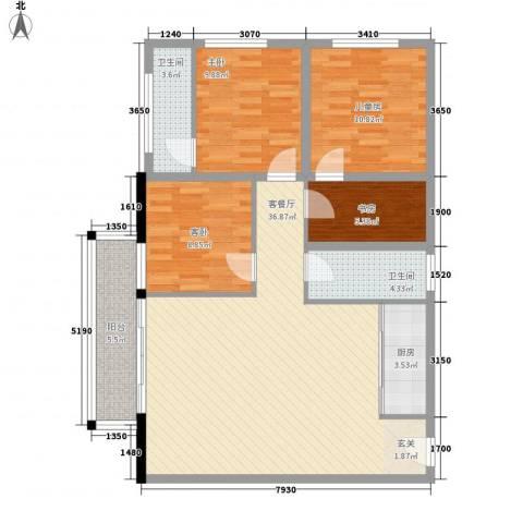 金荔富康花园4室1厅2卫1厨100.80㎡户型图
