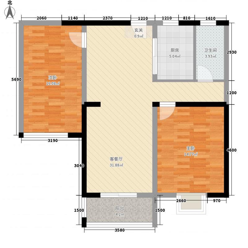 同城花园108.00㎡同城花园户型图3#B标准层2室2厅1卫户型2室2厅1卫