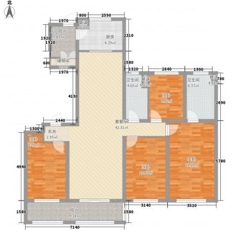 万科信成道4室1厅2卫1厨180.00㎡户型图