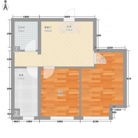 坤泰新界2室1厅1卫1厨63.00㎡户型图