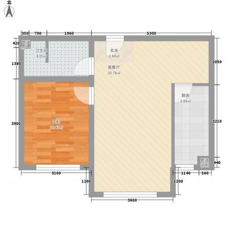 坤泰新界1室1厅1卫1厨64.00㎡户型图
