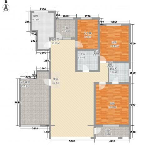 坤泰新界2室1厅2卫1厨180.00㎡户型图