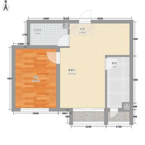 坤泰新界1室1厅1卫1厨63.00㎡户型图
