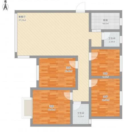 后湖小区4室1厅2卫1厨128.00㎡户型图