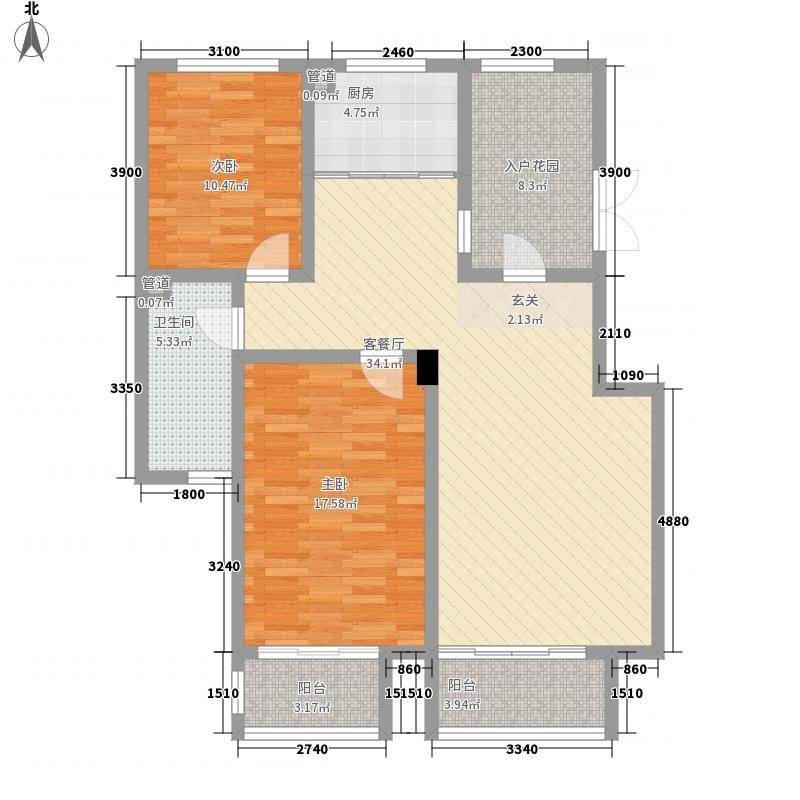 坤泰新界107.50㎡坤泰新界户型图P1户型2室2厅1卫1厨户型2室2厅1卫1厨