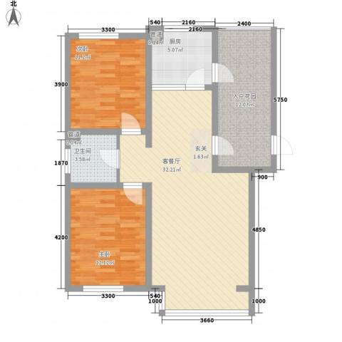 坤泰新界2室1厅1卫1厨109.00㎡户型图