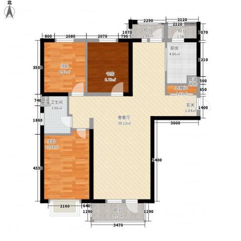 河畔名门3室1厅1卫1厨124.00㎡户型图