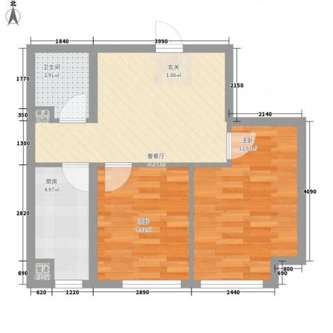 丽景花园2室1厅1卫1厨63.00㎡户型图