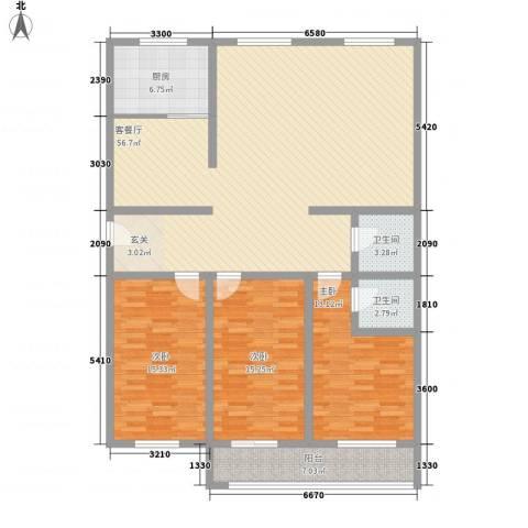知和颐园3室1厅2卫1厨120.25㎡户型图