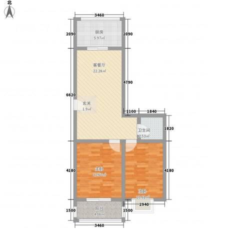 知和颐园2室1厅1卫1厨58.11㎡户型图