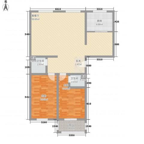 知和颐园2室1厅2卫1厨134.00㎡户型图