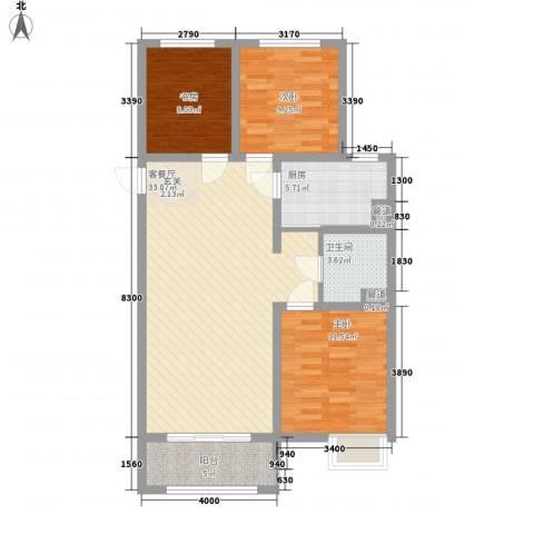 万达华府3室1厅1卫1厨110.00㎡户型图