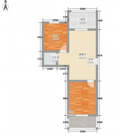 知和颐园2室1厅1卫1厨77.00㎡户型图