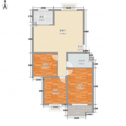 腾骐骏安3室1厅1卫1厨116.00㎡户型图
