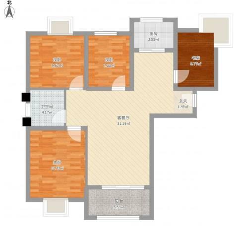 御景龙湾4室1厅1卫1厨116.00㎡户型图