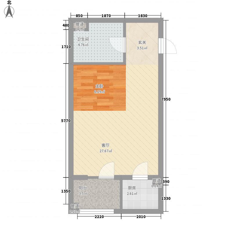 巴克寓所54.00㎡二期摩界N1-4户型1室1厅1卫1厨