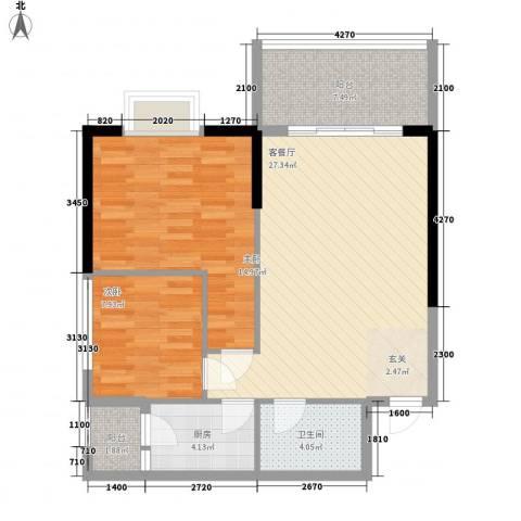 南峰国际二期2室1厅1卫1厨93.00㎡户型图