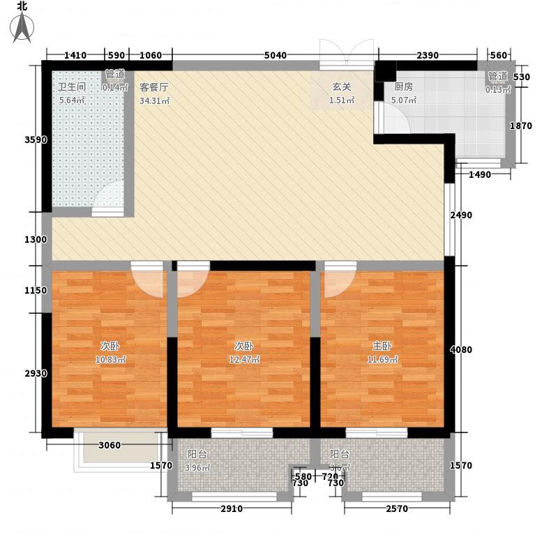怡海国际新城二期10#楼E1户型3室2厅1卫1厨