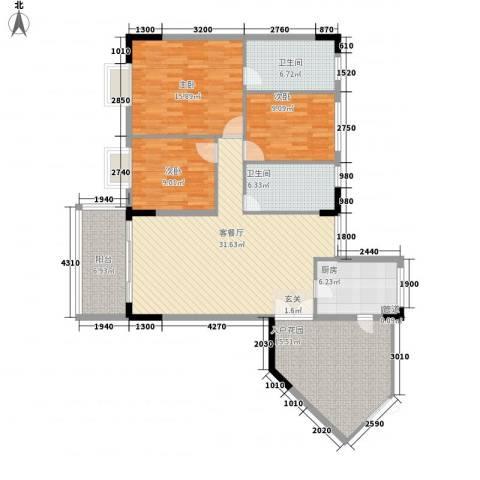 盛世华庭3室1厅2卫1厨128.00㎡户型图