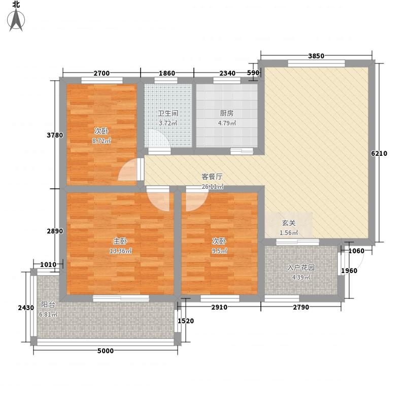 丽景名苑112.80㎡二期11、12号楼户型3室2厅1卫1厨
