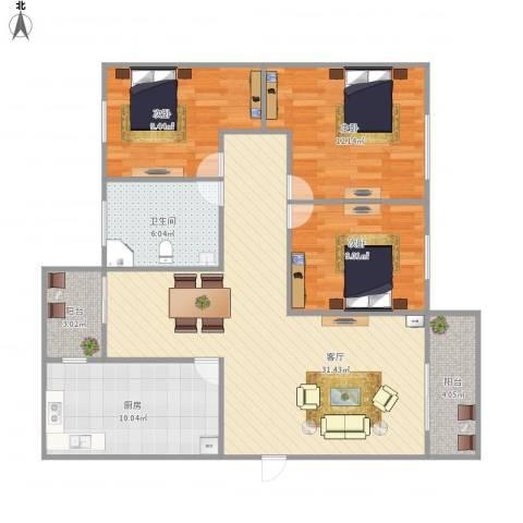 泰安花园3室1厅1卫1厨115.00㎡户型图