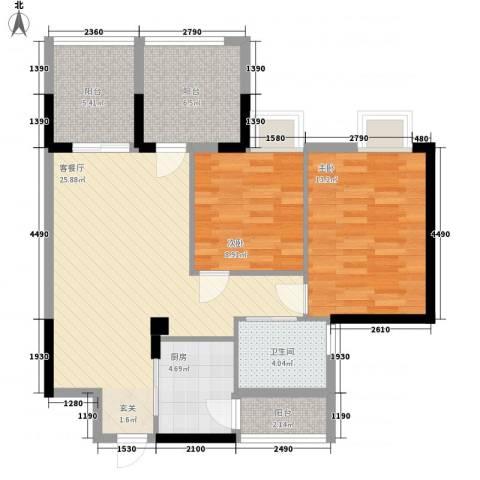 凯美大厦2室1厅1卫1厨101.00㎡户型图