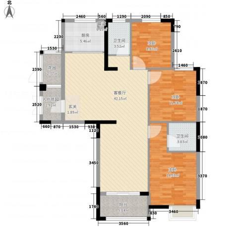 冠城华府3室1厅2卫1厨143.00㎡户型图