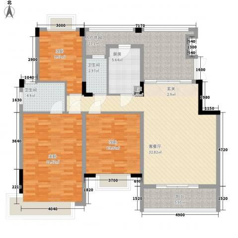 中惠郡庭3室1厅2卫1厨156.00㎡户型图