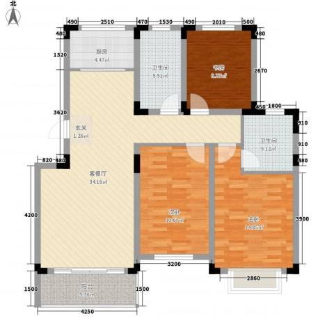 翰林华府3室1厅2卫1厨113.00㎡户型图