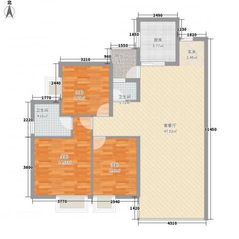 中天财富3室1厅2卫1厨121.00㎡户型图
