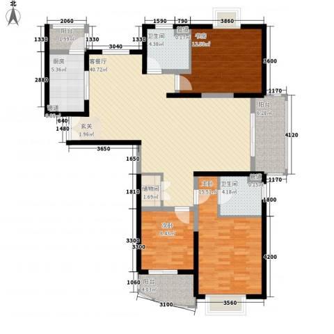 信政天鹅湾3室1厅2卫1厨144.00㎡户型图