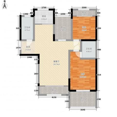 假日电子城2室1厅2卫1厨133.00㎡户型图