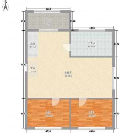 山海一家2室1厅1卫0厨125.00㎡户型图
