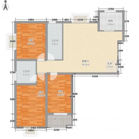 郡宇・万象城3室1厅2卫1厨136.00㎡户型图