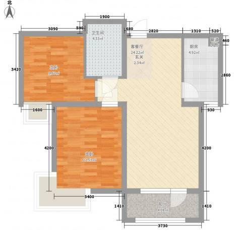 富民小区2室1厅1卫1厨68.93㎡户型图