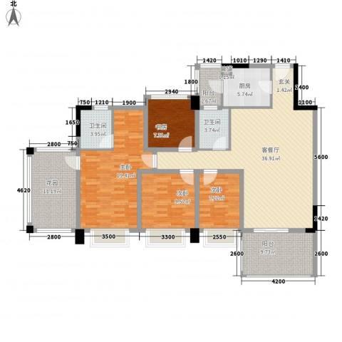 金华花园4室1厅2卫1厨168.00㎡户型图