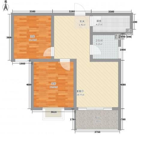 东皋明珠2室1厅1卫1厨92.00㎡户型图