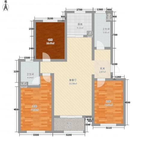 航顺悦澜山3室1厅2卫1厨117.00㎡户型图