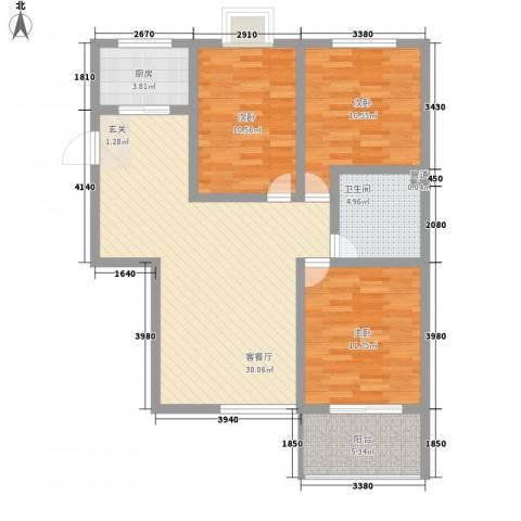 东皋明珠3室1厅1卫1厨111.00㎡户型图