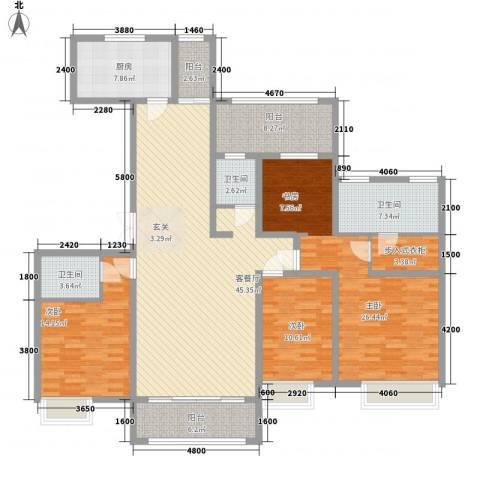 万达华府3室1厅3卫1厨187.00㎡户型图