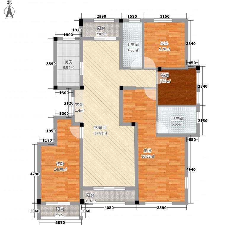 绿城・诚园167.00㎡D1户型3室2厅2卫1厨