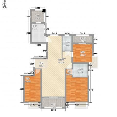万达华府3室1厅2卫1厨139.00㎡户型图