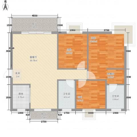 丽景名门二期3室1厅2卫1厨106.00㎡户型图