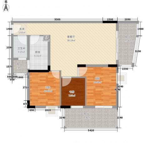 鸿通花园3室1厅1卫1厨133.00㎡户型图