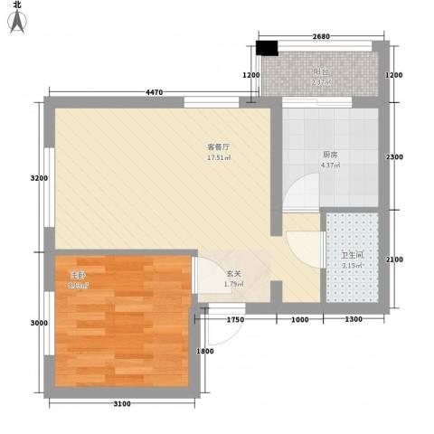 上上城青年社区二期1室1厅1卫1厨54.00㎡户型图