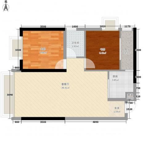 中天财富2室1厅1卫1厨77.00㎡户型图