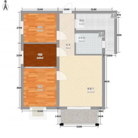 上上城青年社区二期3室1厅1卫1厨89.00㎡户型图