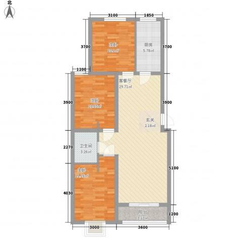 上上城青年社区二期3室1厅1卫1厨112.00㎡户型图