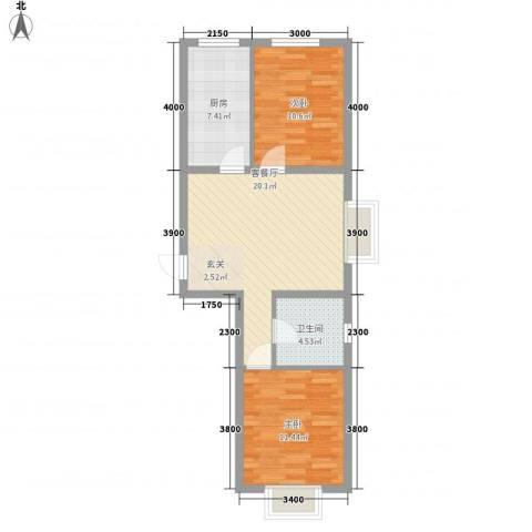 上上城青年社区二期2室1厅1卫1厨83.00㎡户型图